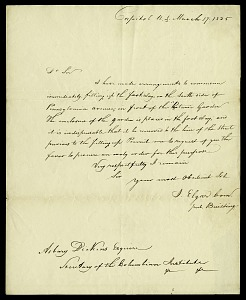 Image of Letter from J. Elgar to Asbury Dickens, Secretary of the Columbian Institute, March 17, 1825