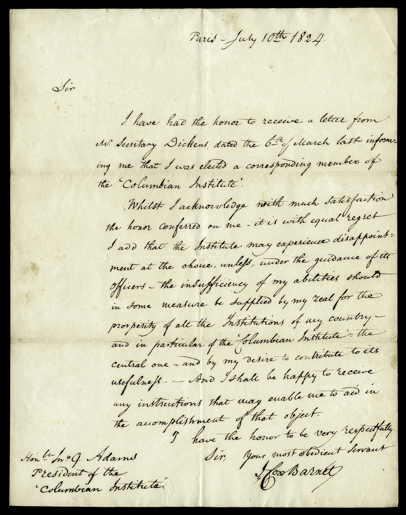 Letter from J. Cox Barnett to the Honorable John Quincy Adams, President of the Columbian Institute, July 10, 1824