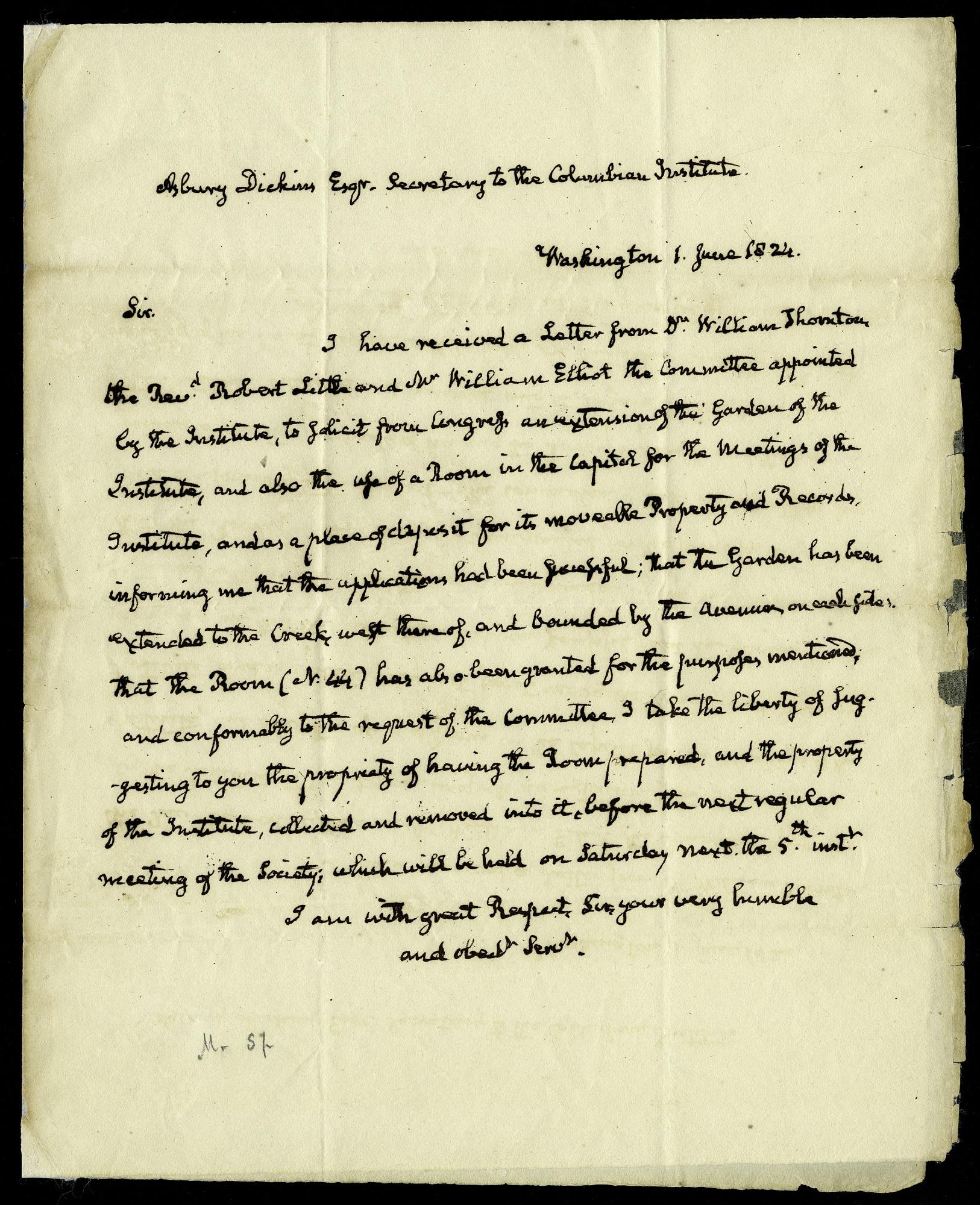 Letter from John Quincy Adams to Asbury Dickens, Secretary of the Columbian Institute, June 1, 1824