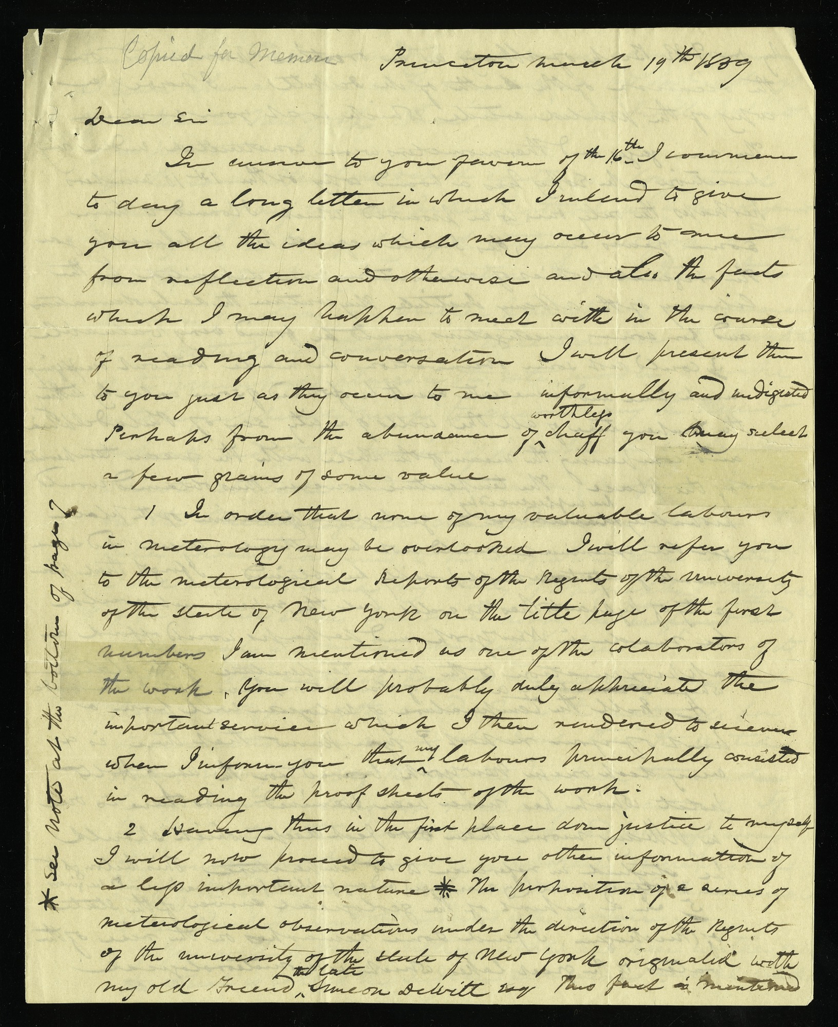 Joseph Henry's Letter to Alexander Dallas Bache (March 19-27, 1839)