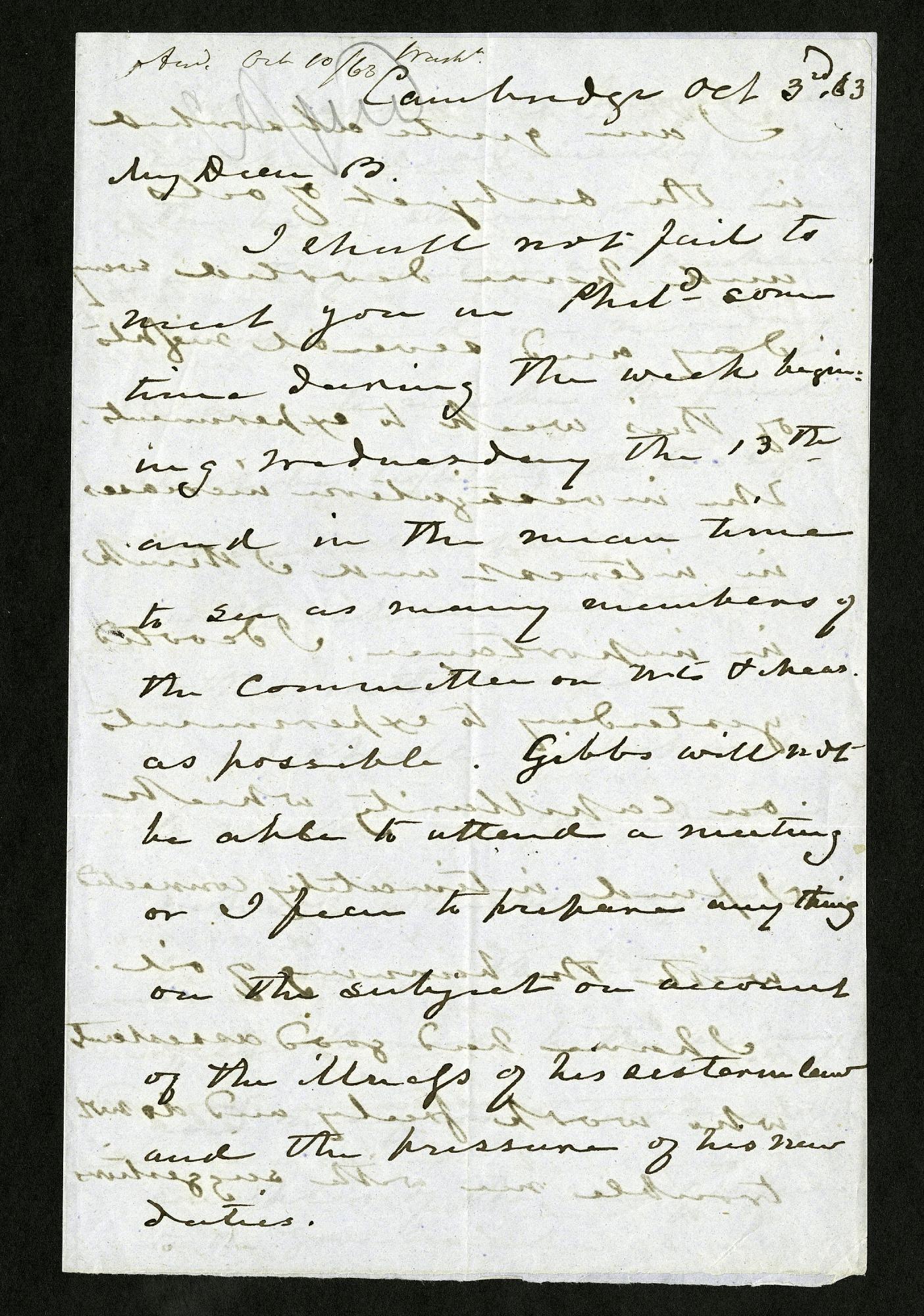 Joseph Henry's Letter to Alexander Dallas Bache (October 3, 1863)