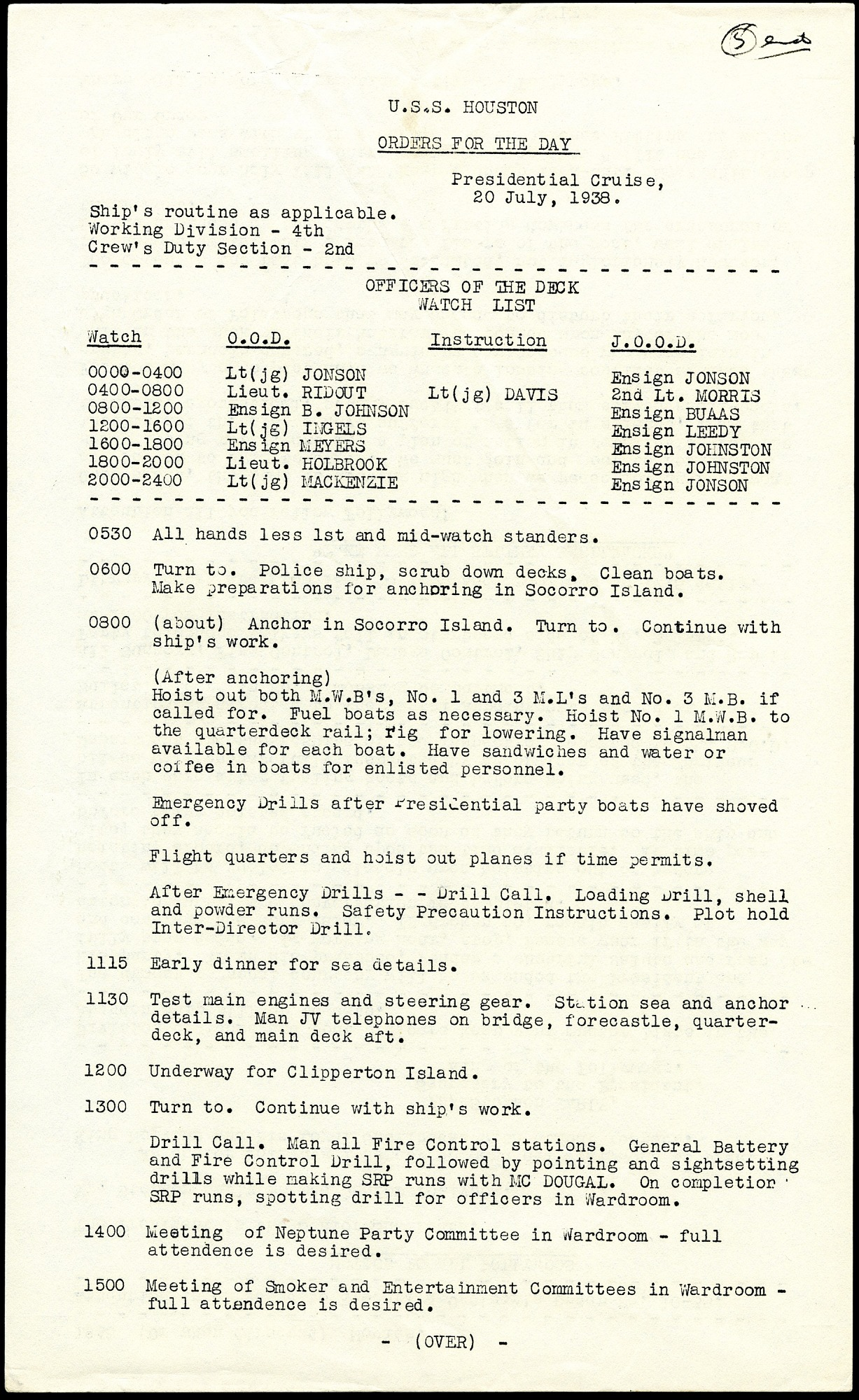 Orders for the Day for July 20, 1938, USS Houston, F.D. Roosevelt's Presidental Cruise, Front.
