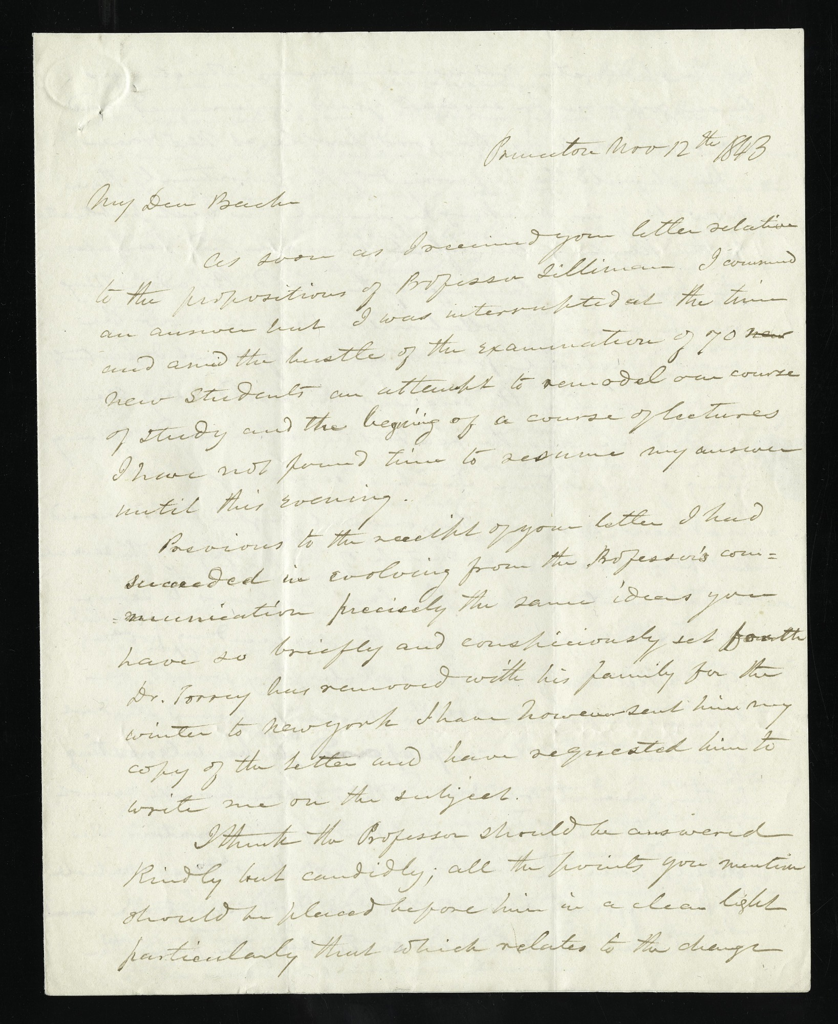 Joseph Henry's Letter to Alexander Dallas Bache (November 12, 1843)