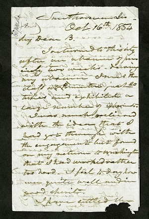Joseph Henry's Letter to Alexander Dallas Bache (October 16, 1854)