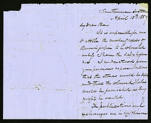 Joseph Henry's Letter to Spencer Fullerton Baird (April 13, 1857)