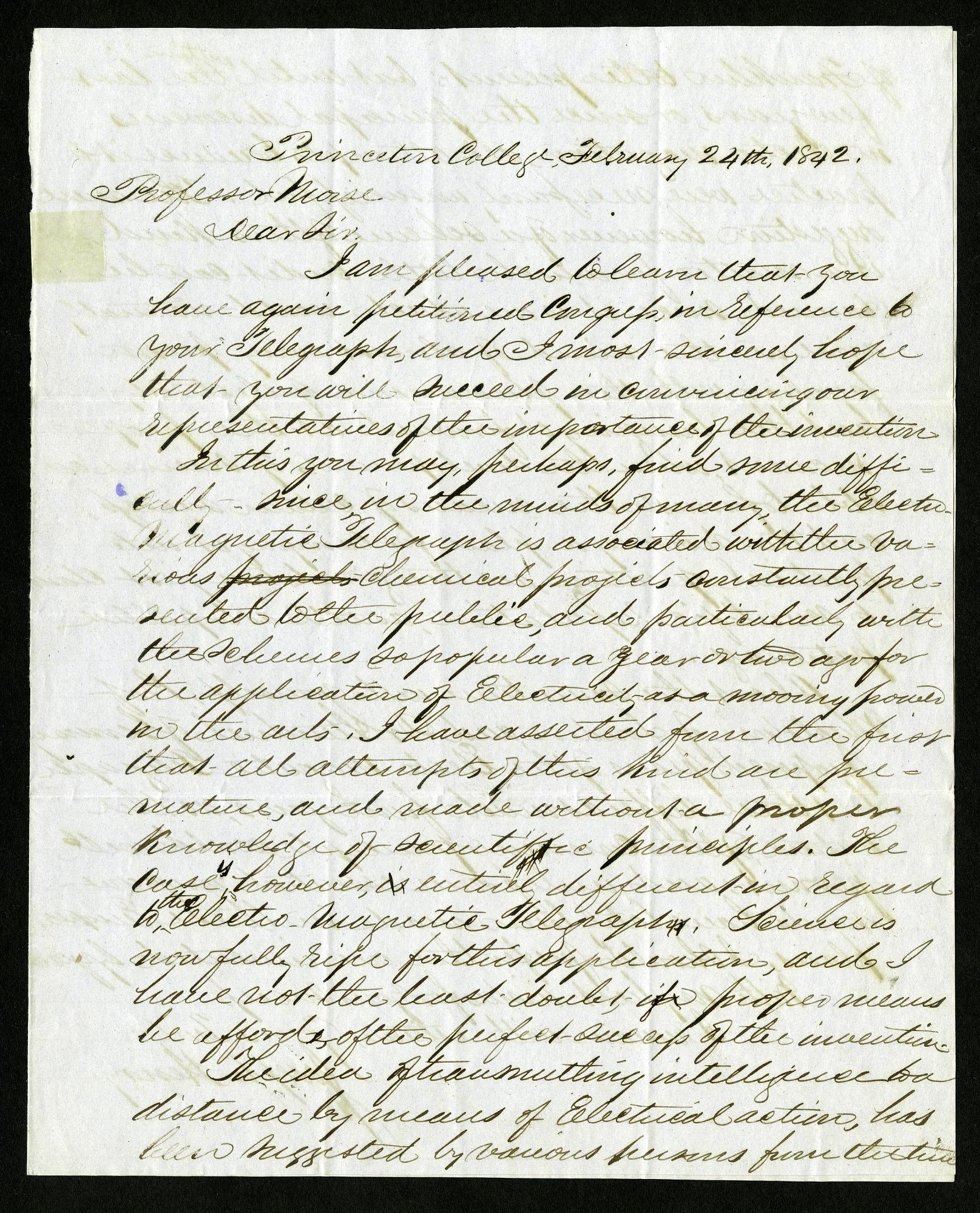 Joseph Henry's Letter to Samuel F. B. Morse (February 24, 1842)