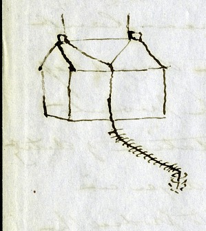 Joseph Henry's Drawing of a Lightning Rod Attached to a House