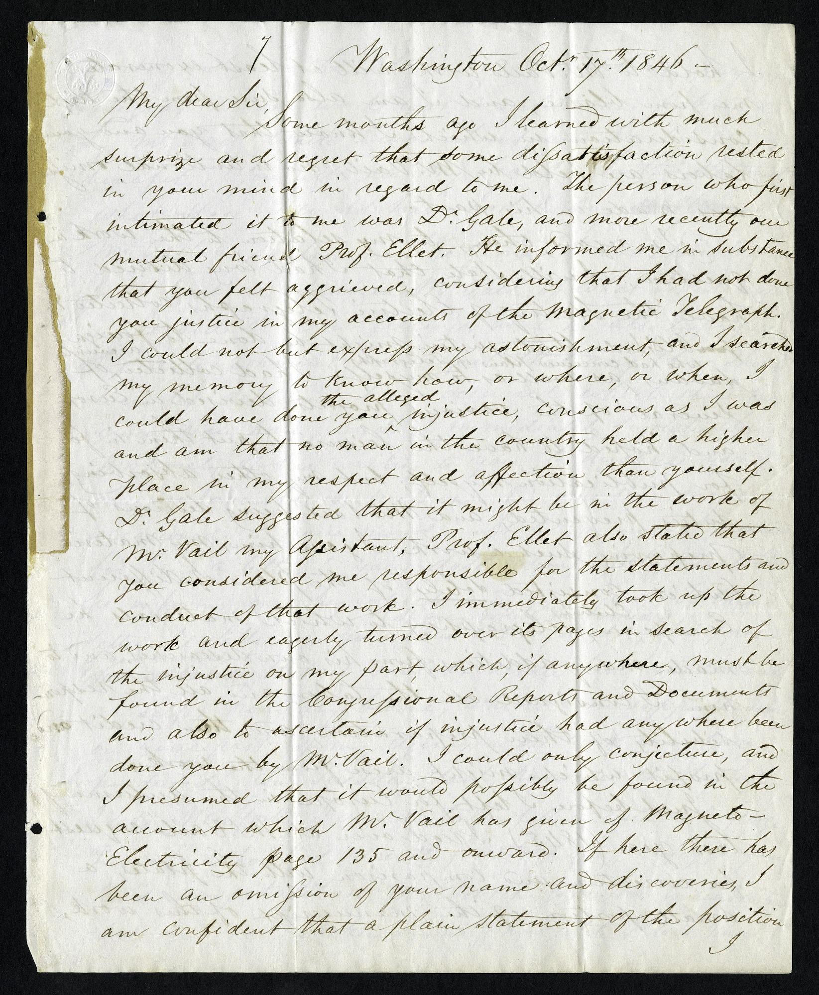 Samuel F. B. Morse's Letter to Joseph Henry (October 17, 1846)