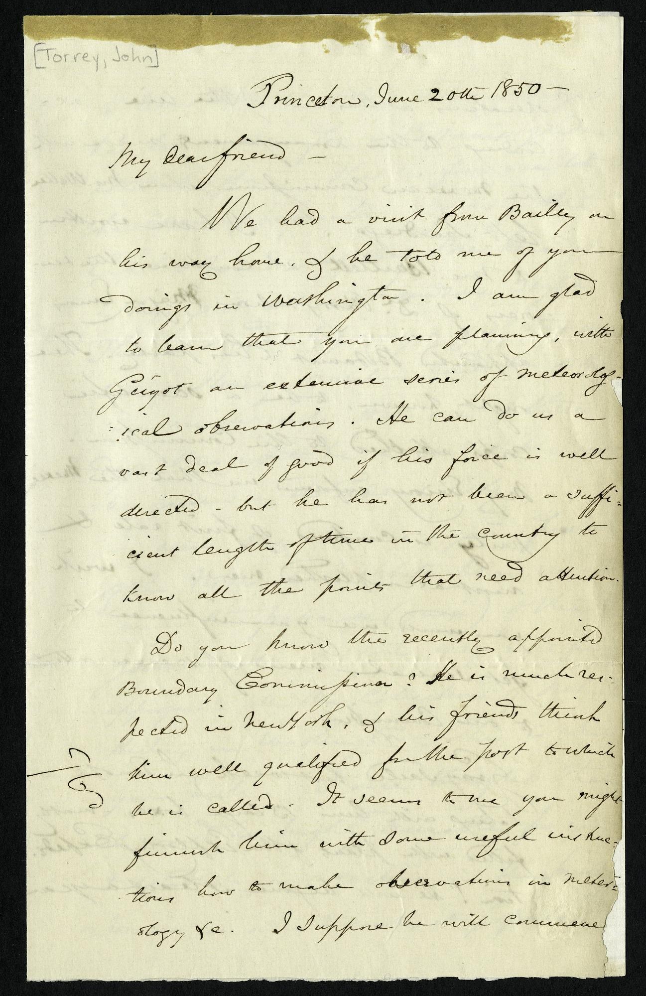 John Torrey's Letter to Joseph Henry (June 20, 1850)
