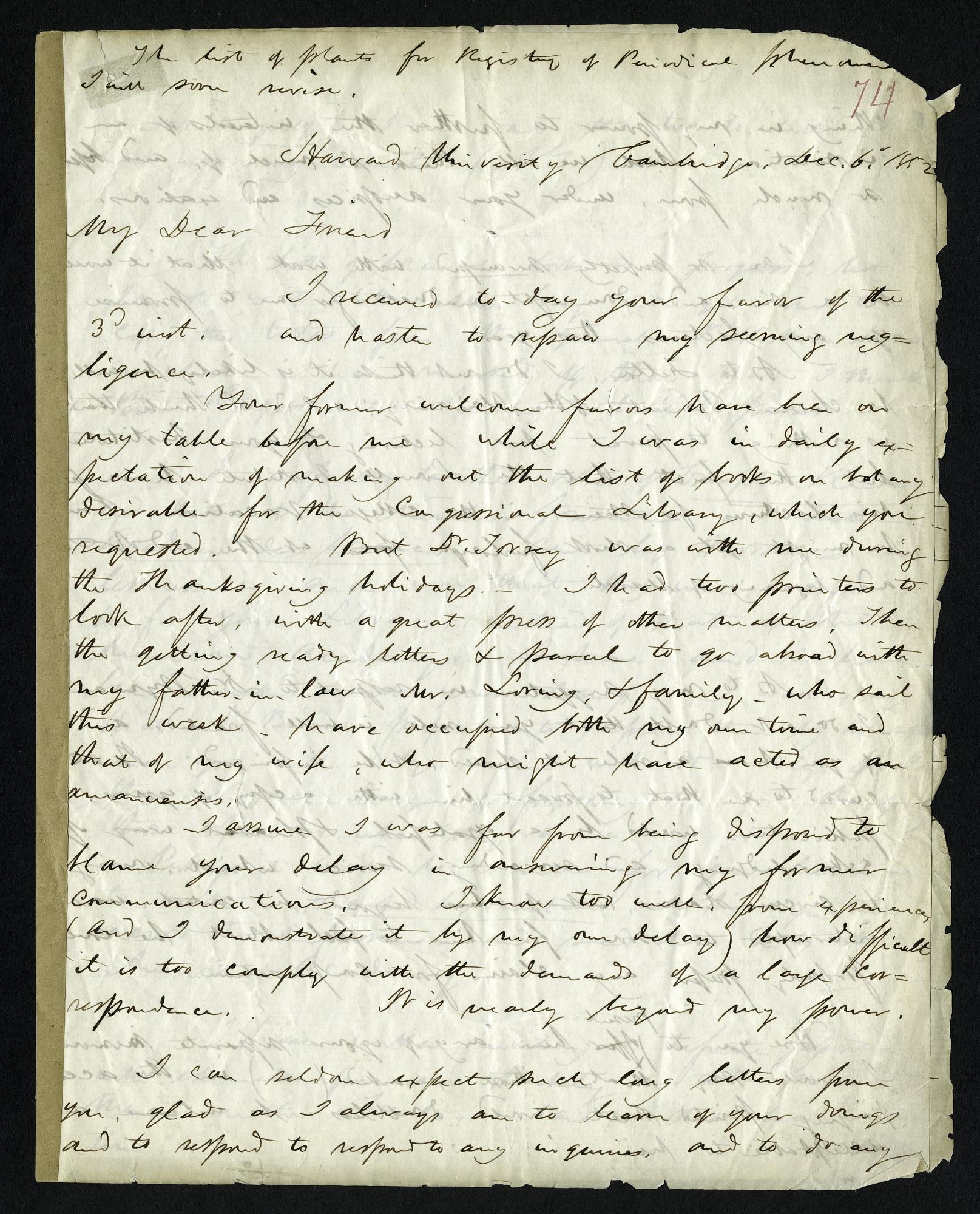 Asa Gray's Letter to Joseph Henry (December 6, 1852)