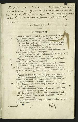 Joseph Henry's Natural Philosophy Syllabus