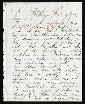 William Stimpson's Letter to Joseph Henry (October 10, 1871)