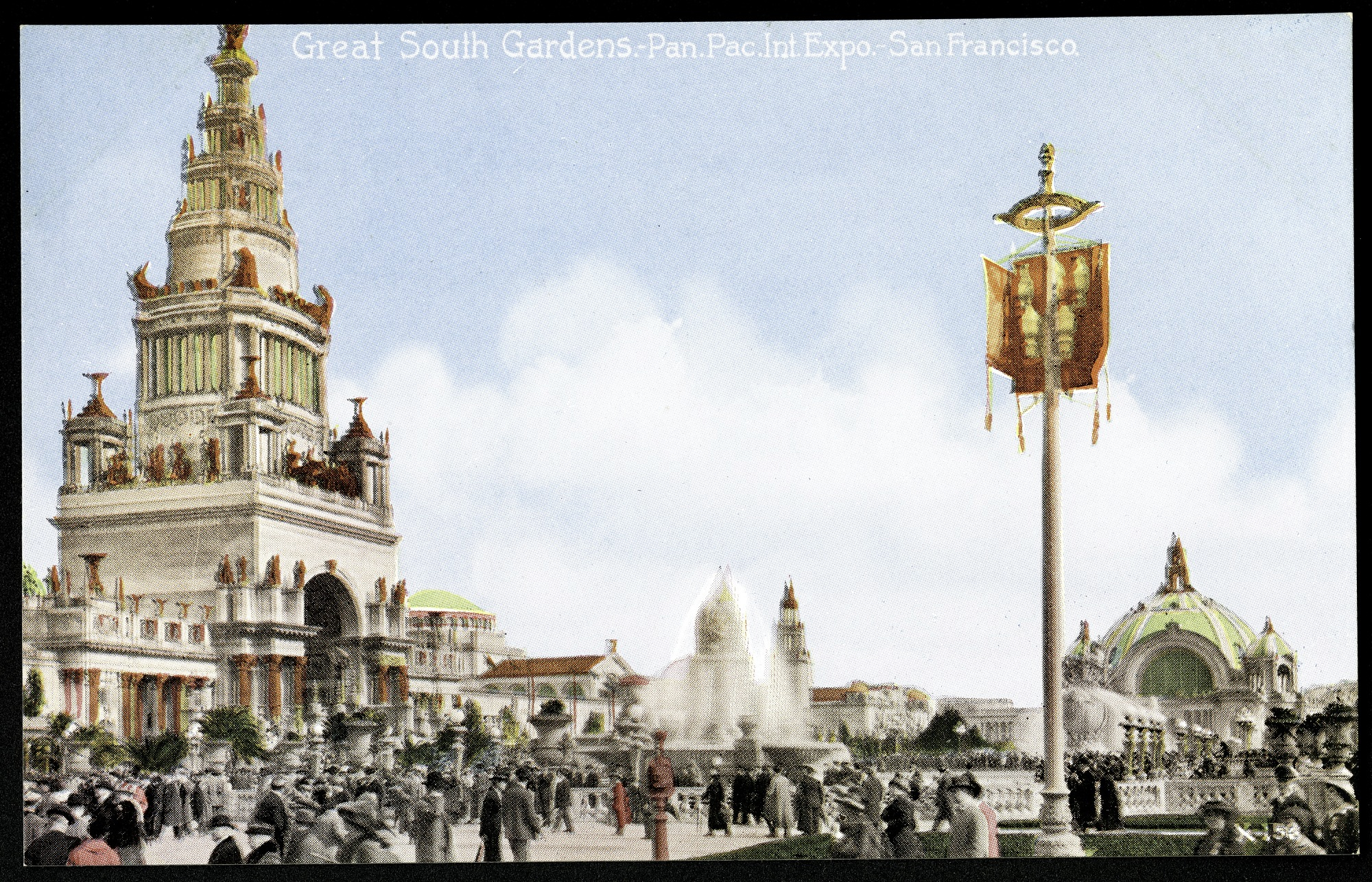 Great South Gardens Postcard from the Panama-Pacific Exposition