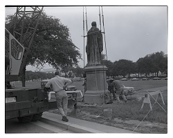 Turning of the Joseph Henry Statue