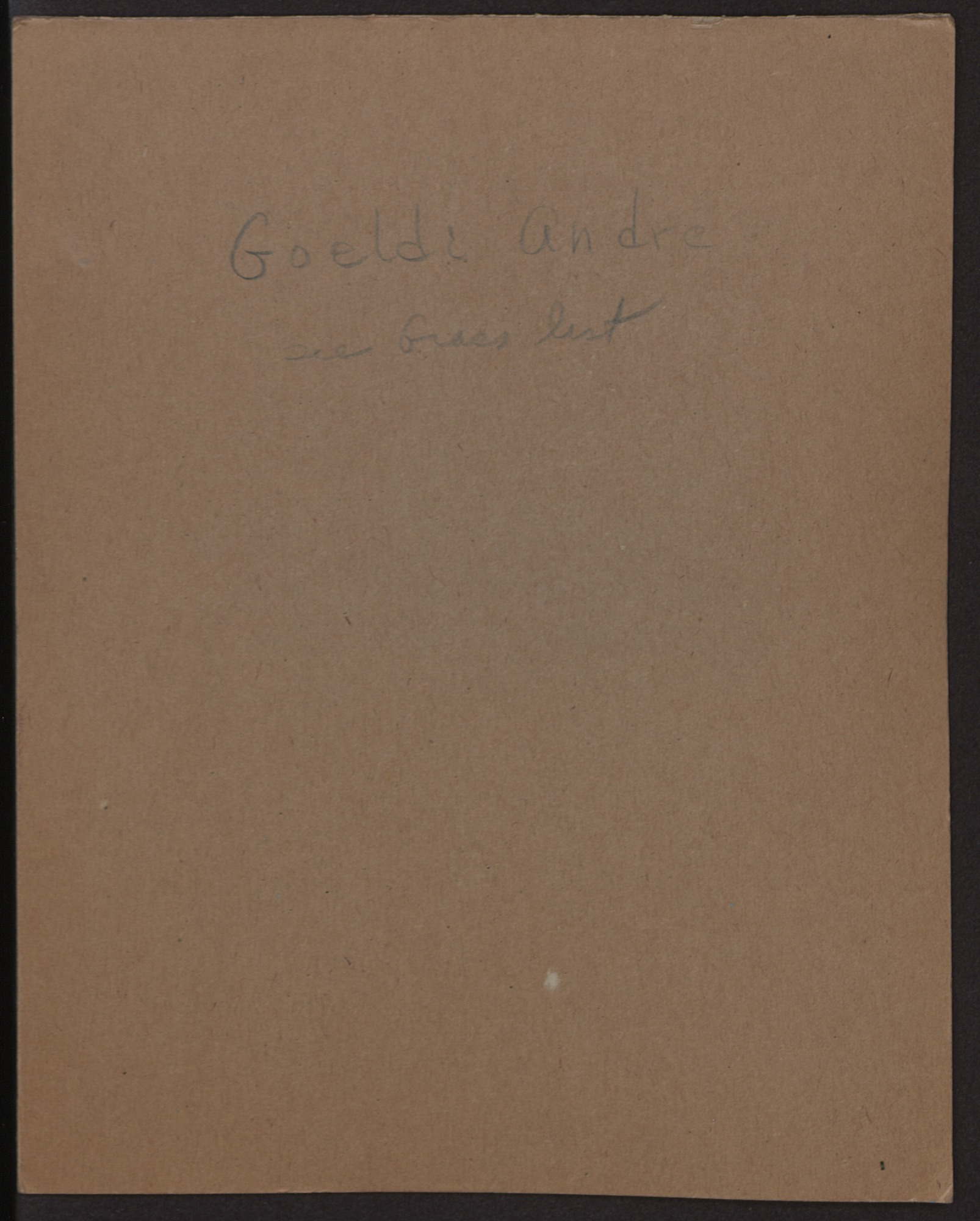 André Goeldi Field Notes, 1913-1920, 1966