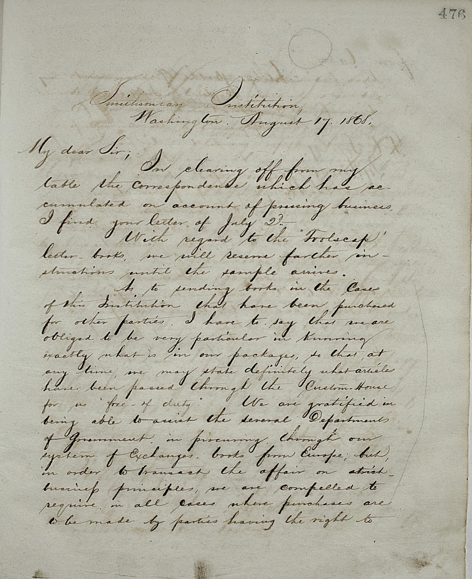 Joseph Henry's Letter to Felix Flugel (August 17, 1868)