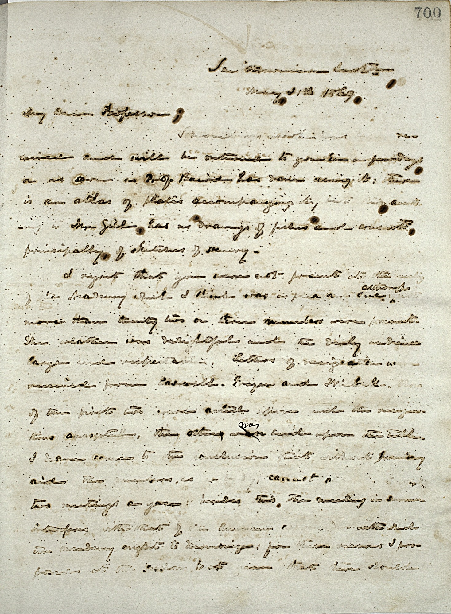 Joseph Henry's Letter to Louis Agassiz (May 31, 1869)