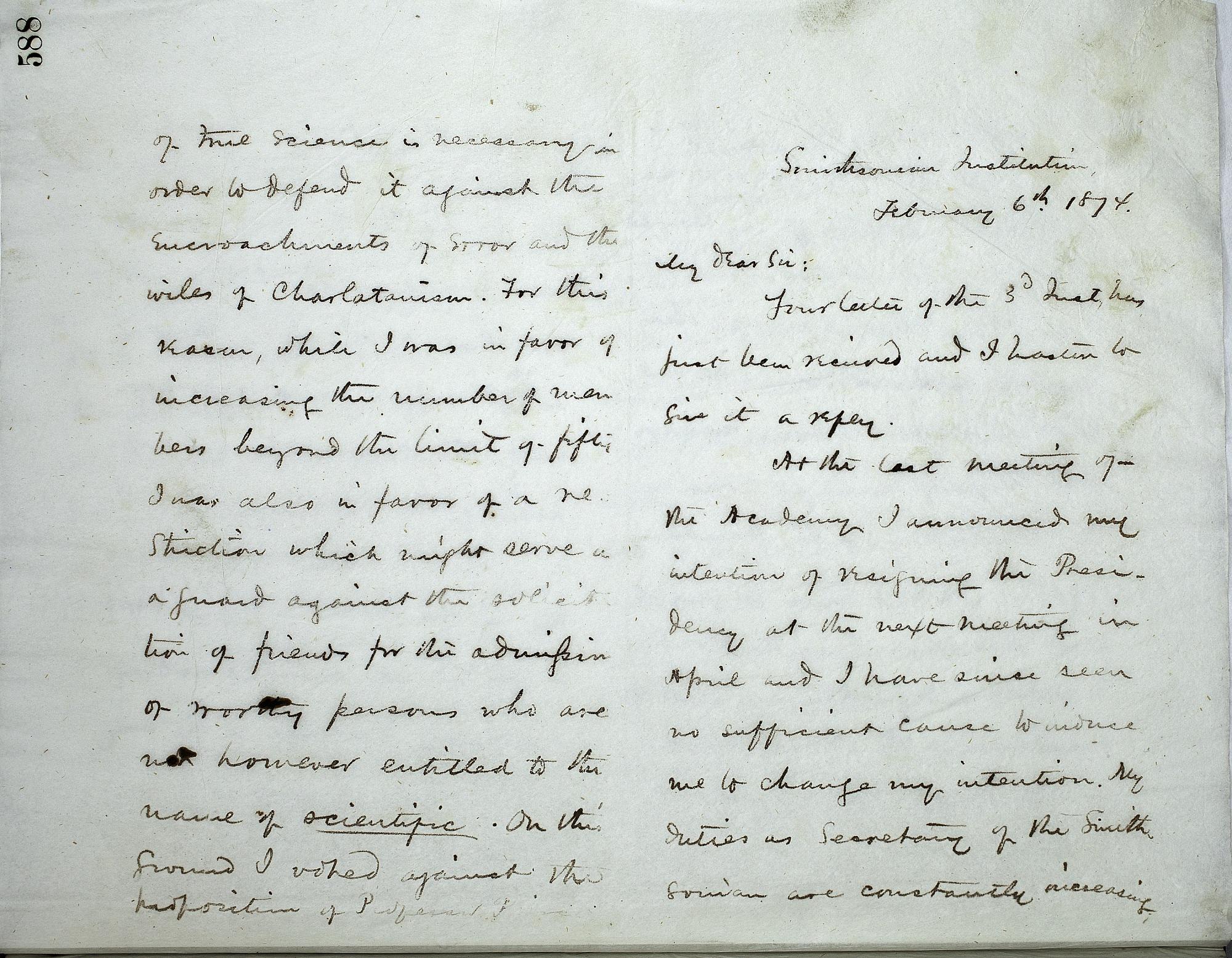 Joseph Henry's Letter to Alexander Agassiz (February 6, 1874)