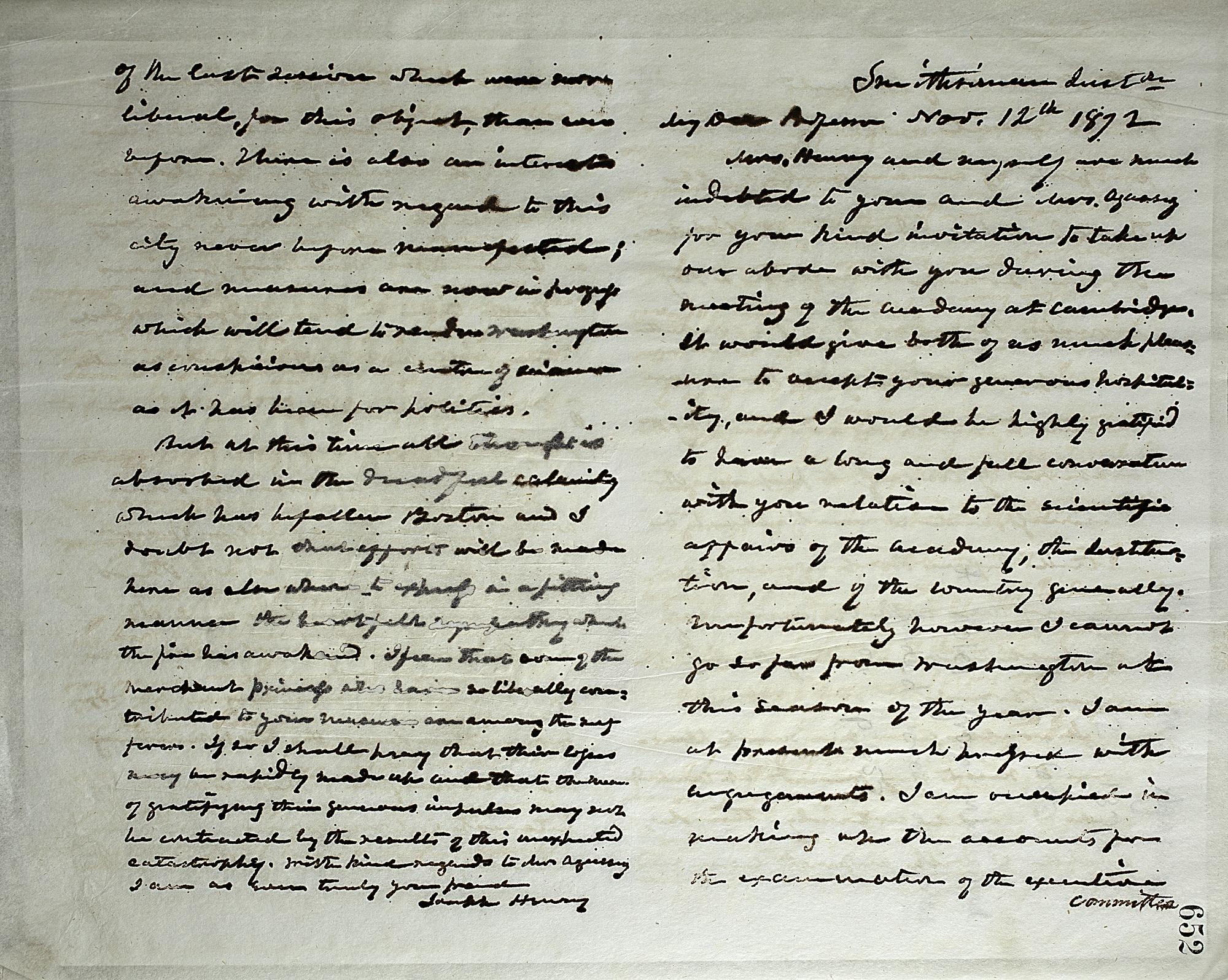 Joseph Henry's Letter to Louis Agassiz (November 12, 1872)