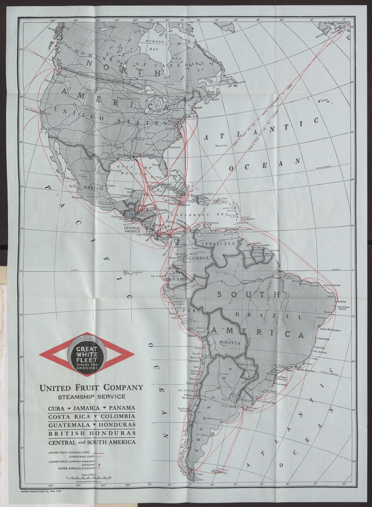 Map of the Routes of the United Fruit Company Steam Ship Service