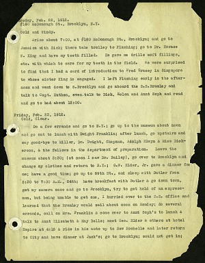 Typewritten copy of field journal of Henry Cushier Raven written while in Singapore, Java and Borneo and vicinity, dated 22 February 1912 to 2 November 1914