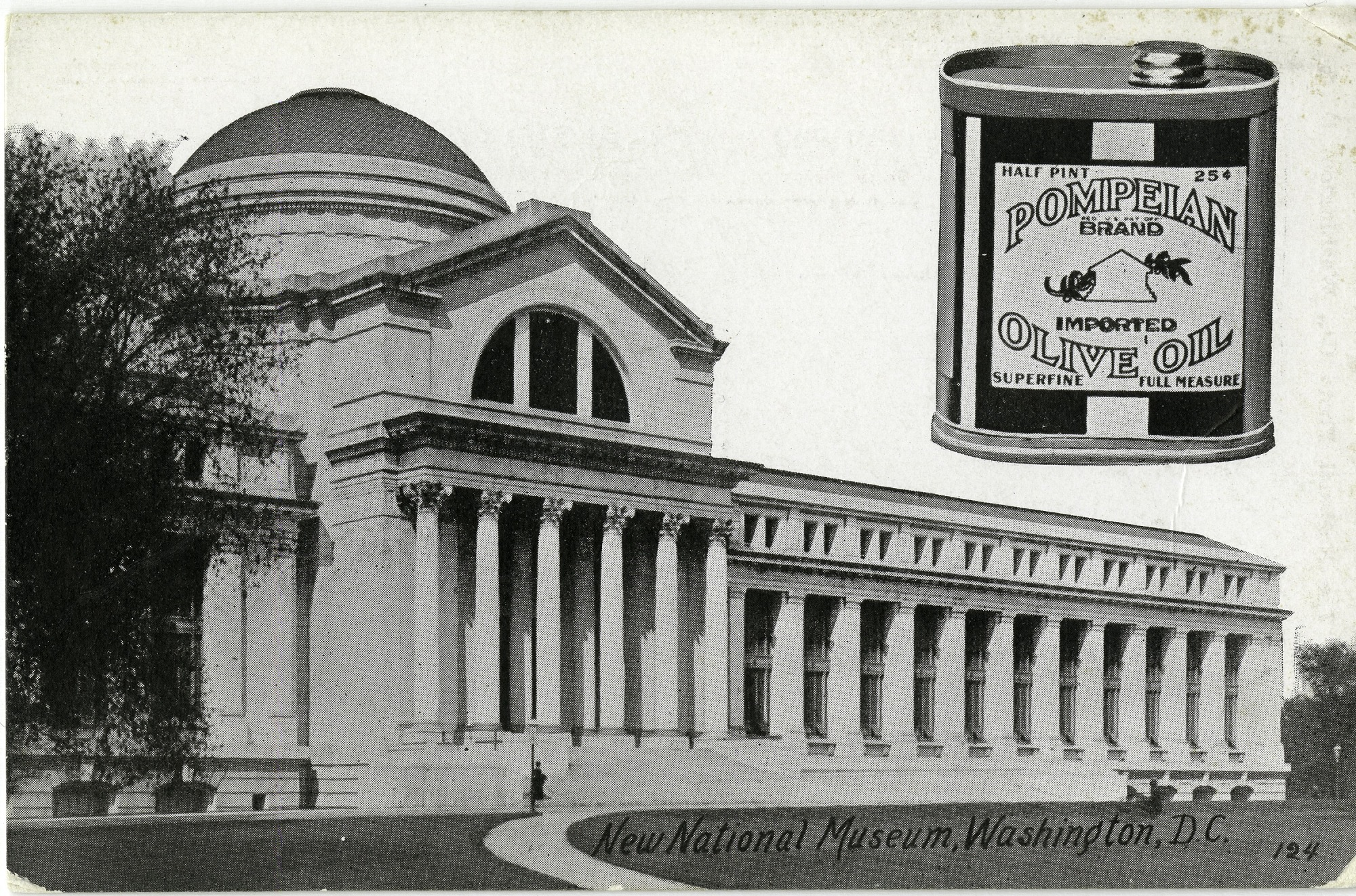 Postcard of New National Museum and Can of Pompeian Olive Oil