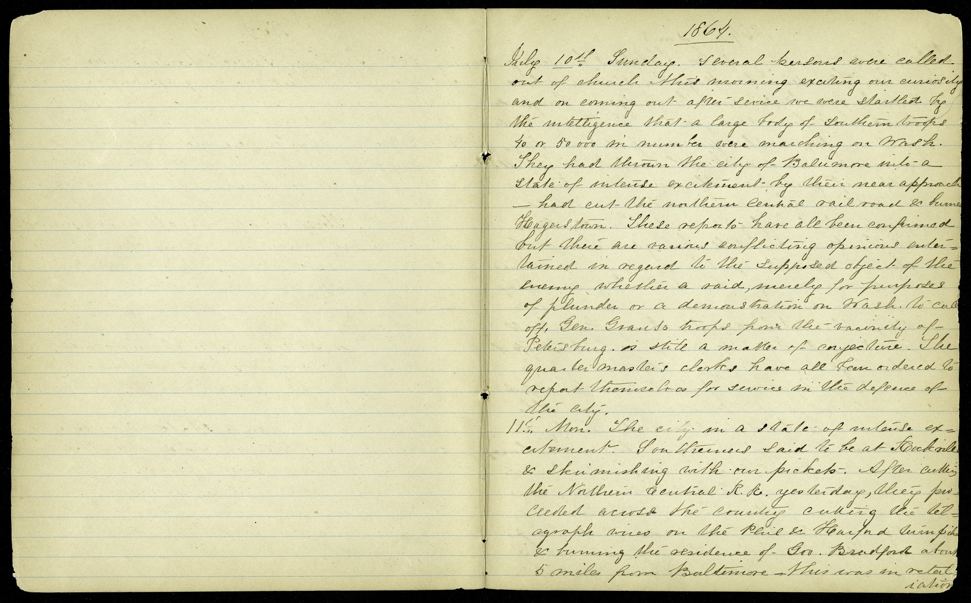 Mary Henry Diary Entry Southern Army Approaching the City of Washington, July 10-14, 1864