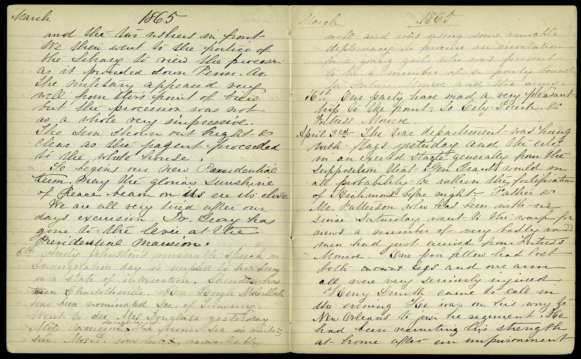 Mary Henry Diary Entry End of the Civil War, April 3-10, 1865