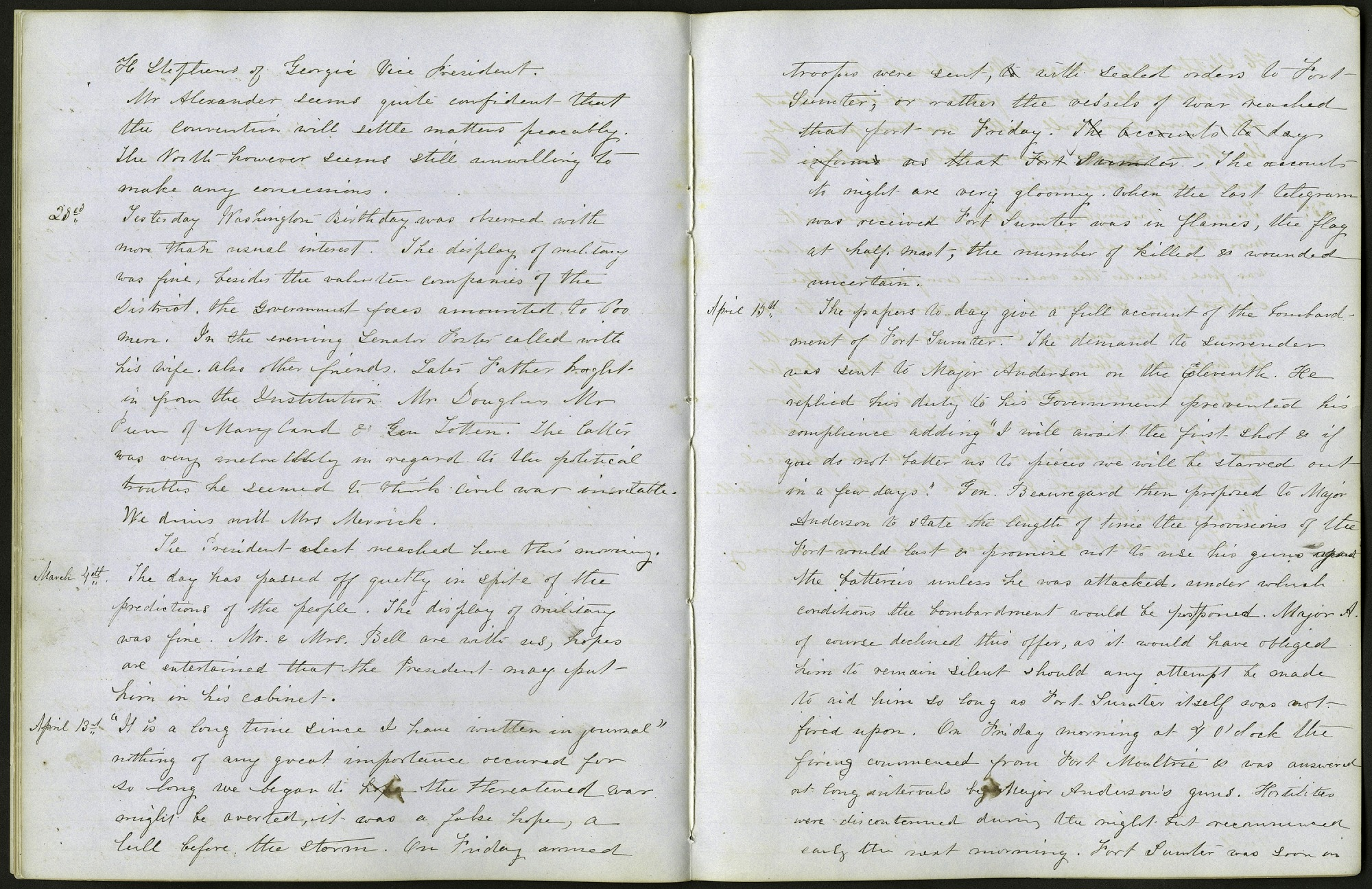Mary Henry Diary Entries on Dorothea Dix and Fort Sumter Attack