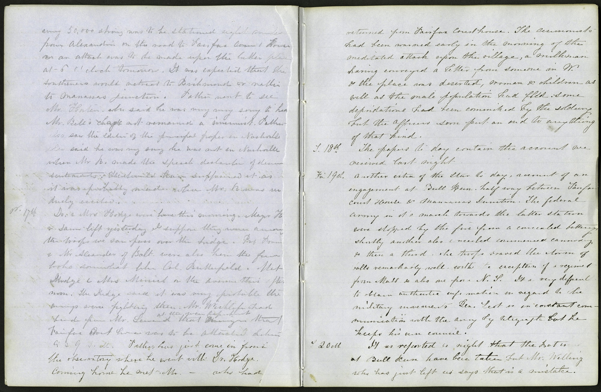 Mary Henry Diary Entries on the First Battle of Manassas, July 1861