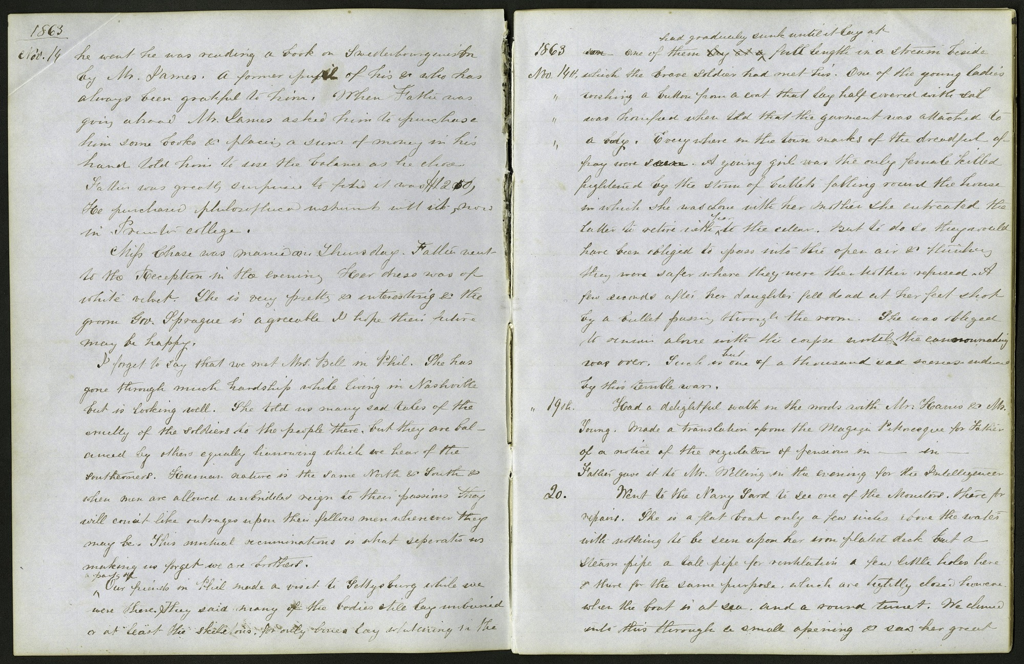 Mary Henry Diary Entry Visit to the Navy Yard to See an Ironclad, November 20, 1863