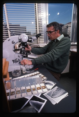 W. Duane Hope with Microscope