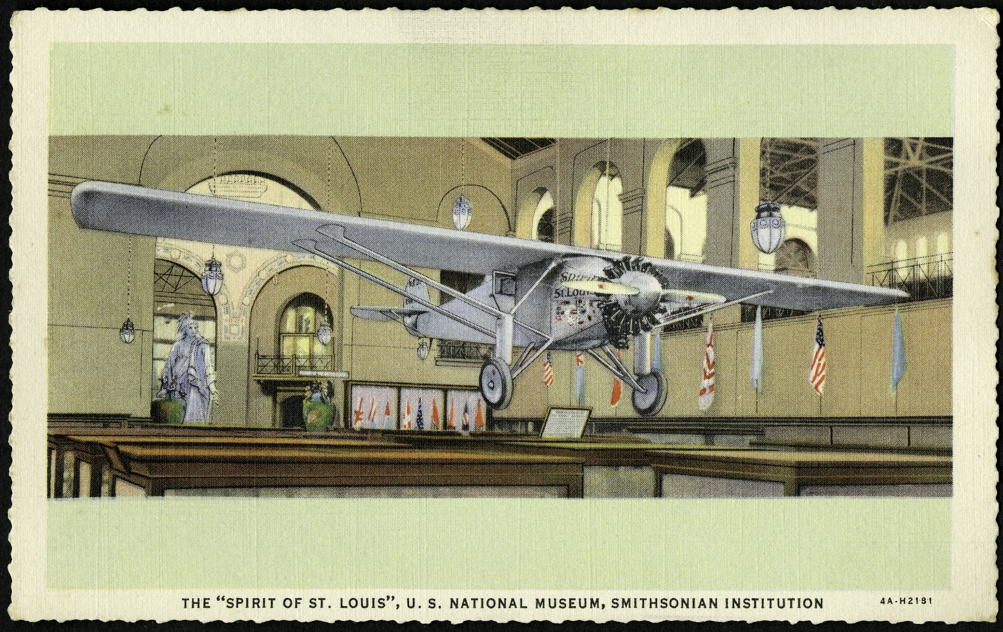 """Blank Postcard of the """"Spirit of St. Louis"""""""