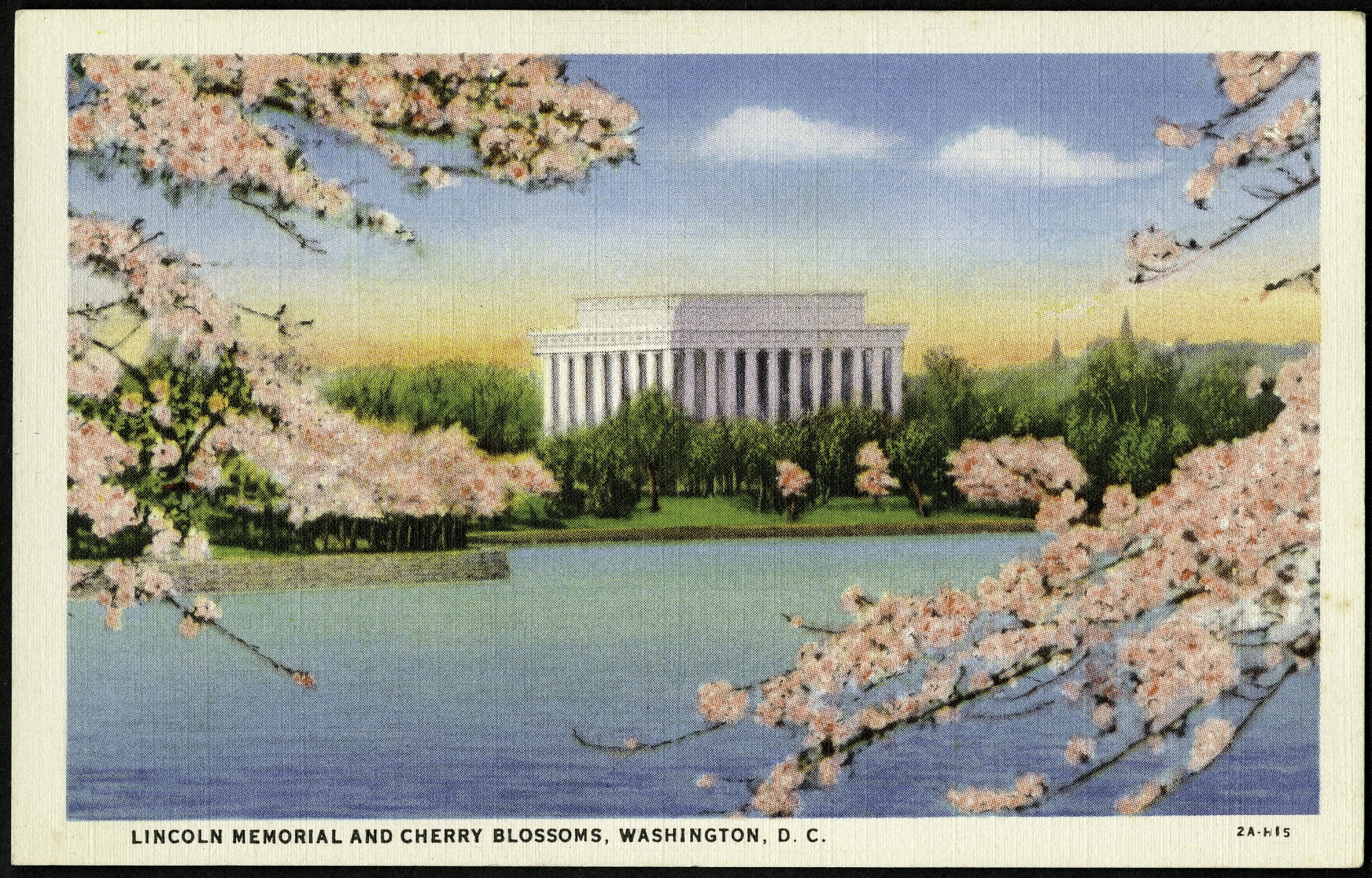 Postcard of the Lincoln Memorial and Cherry Blossoms