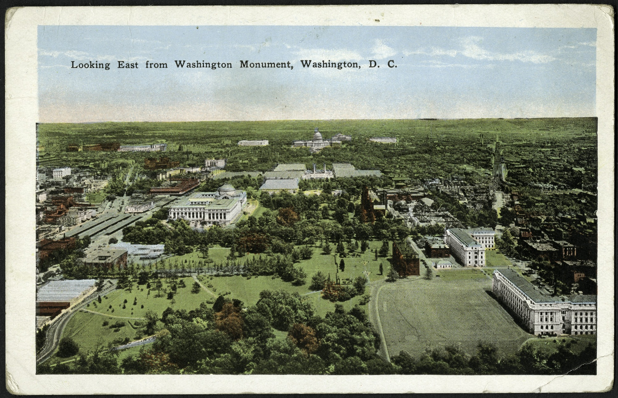 Postcard Looking East from Washington Monument