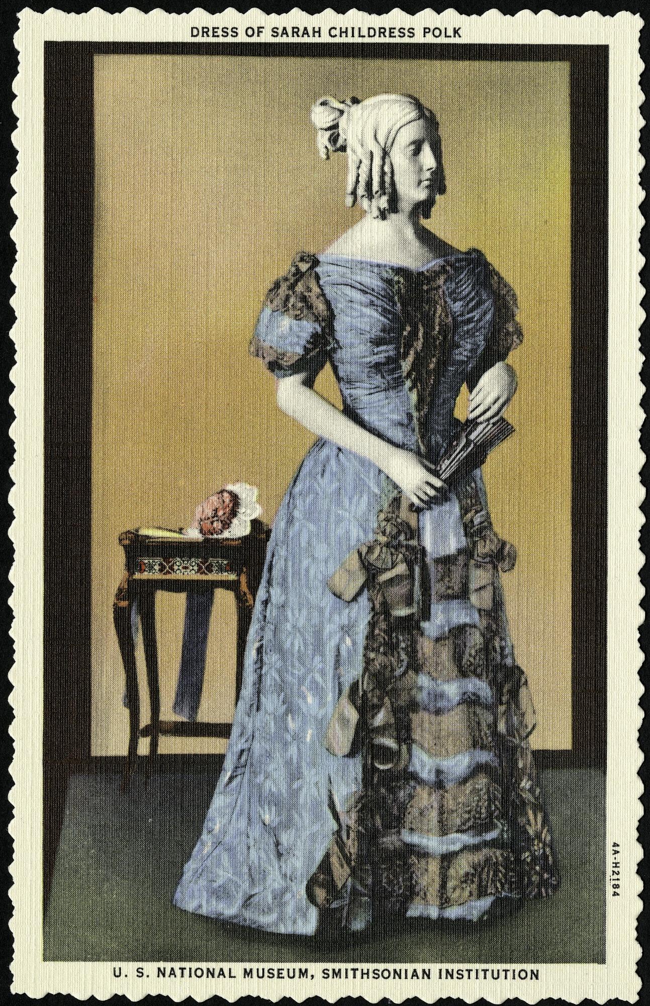 Postcard of a Dress of Sarah Childress Polk