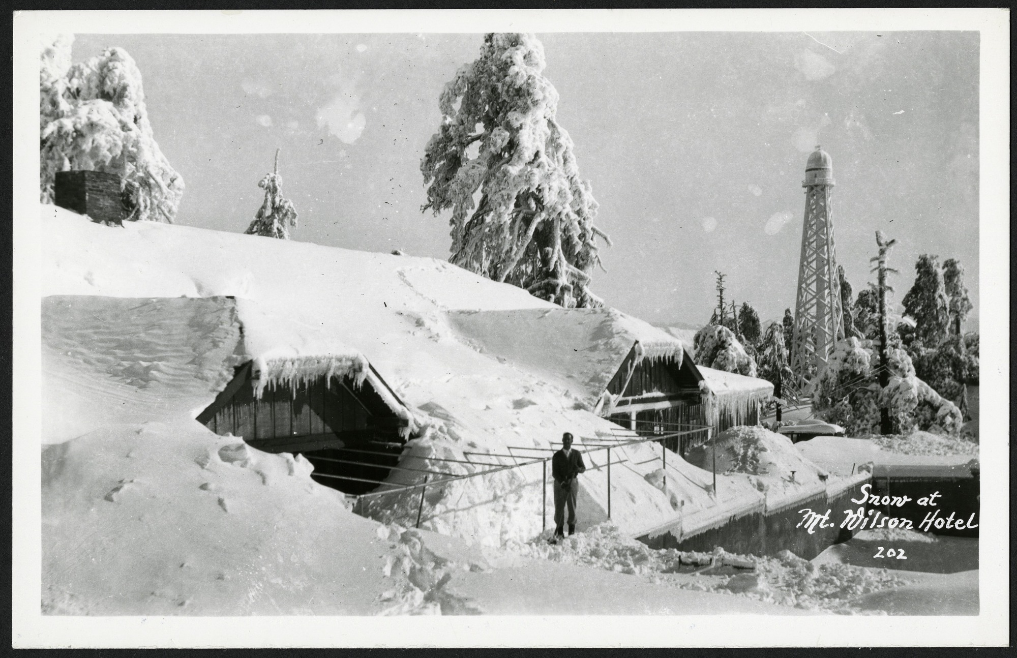 Postcard of Snow at Mt. Wilson Hotel