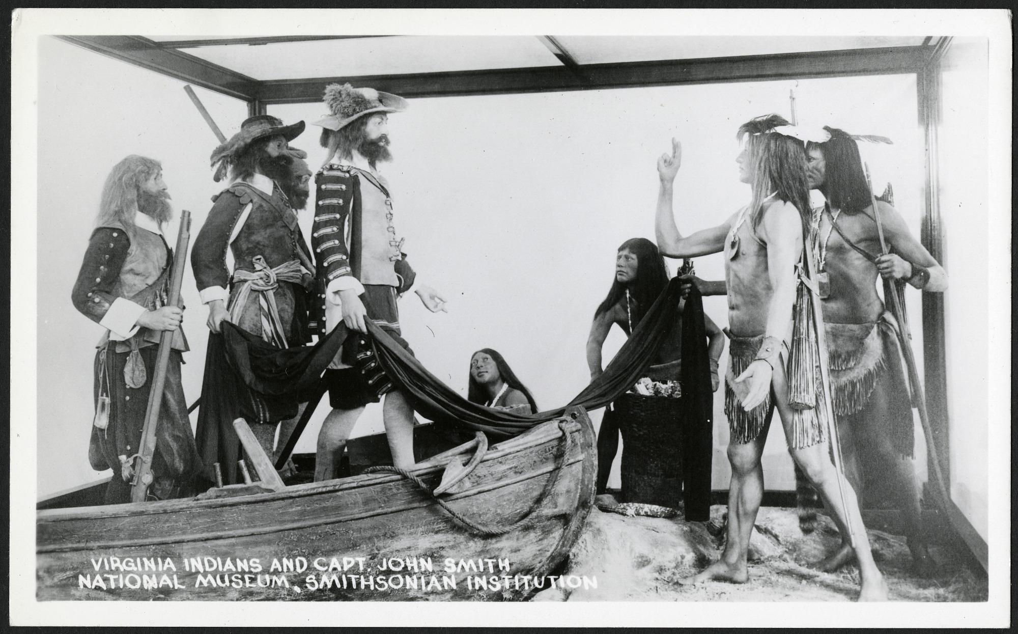 Postcard of Virginia Indians and Captain John Smith