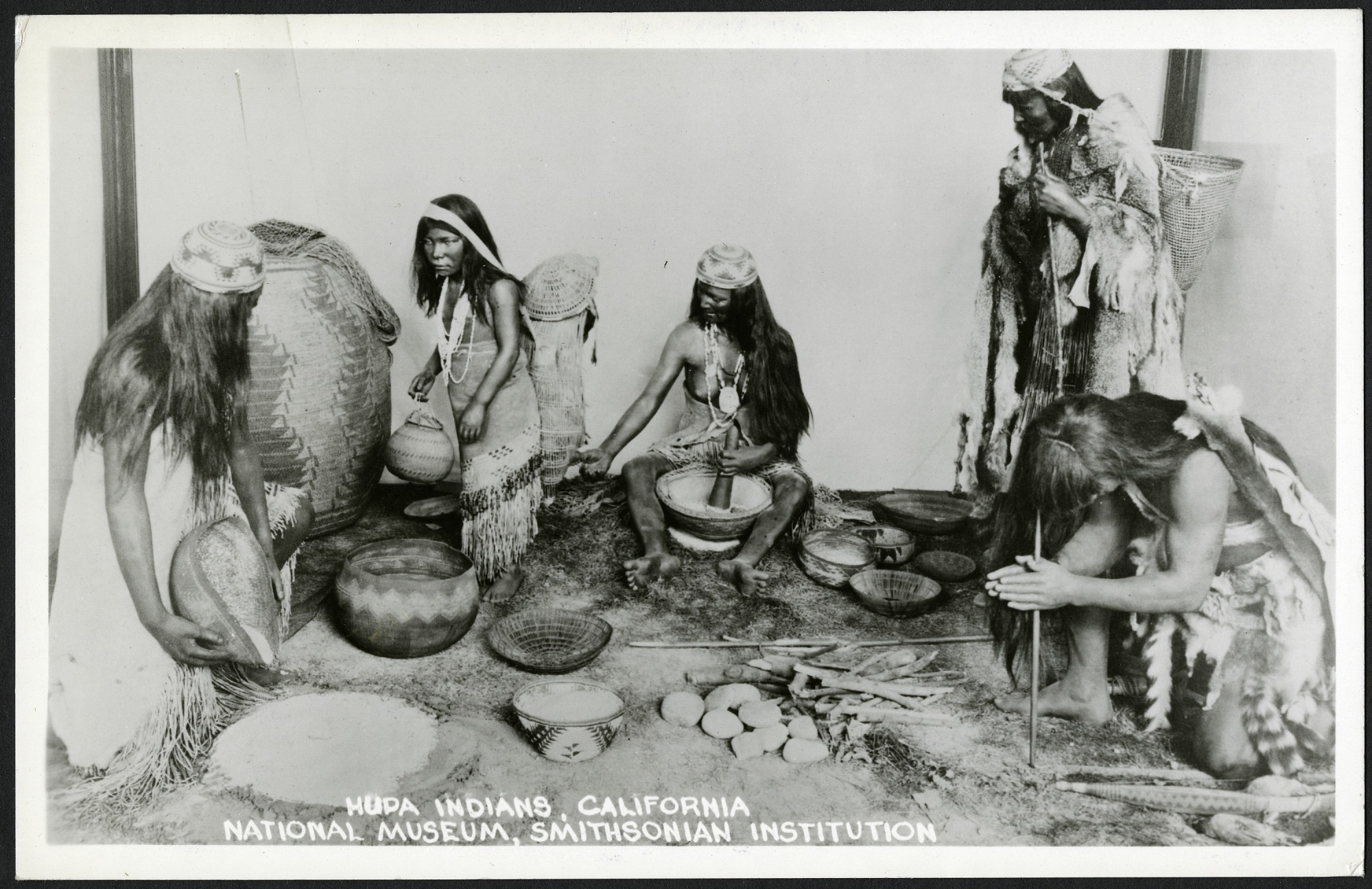 Postcard of Native American Hupa Indians Exhibit