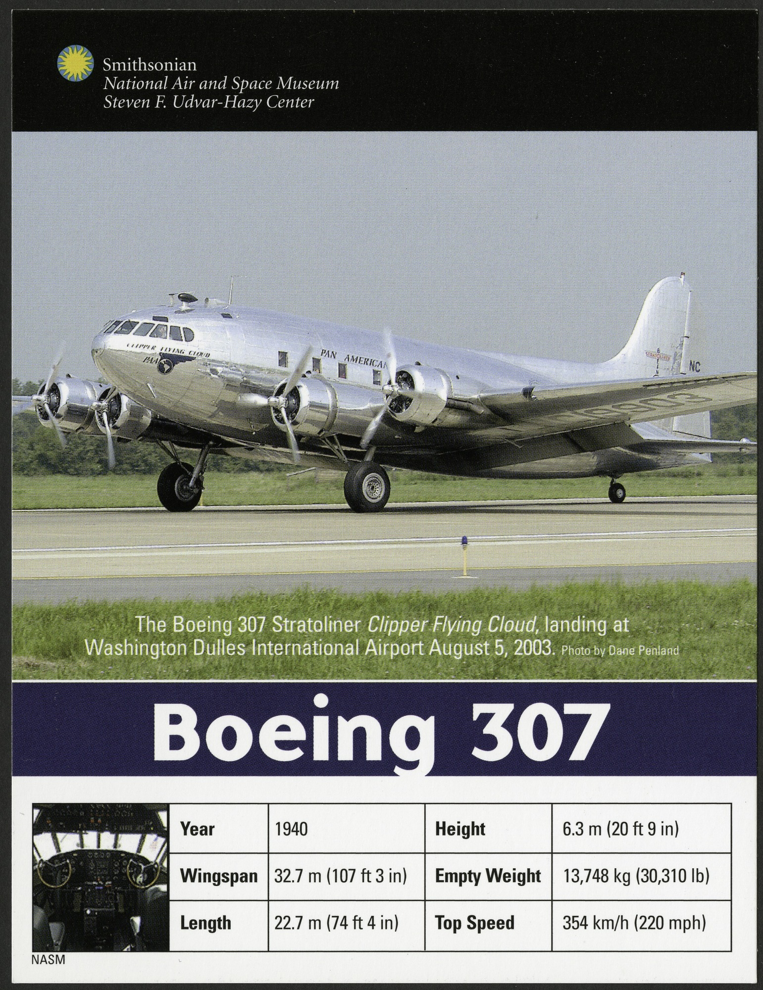 Postcard of Boeing 307