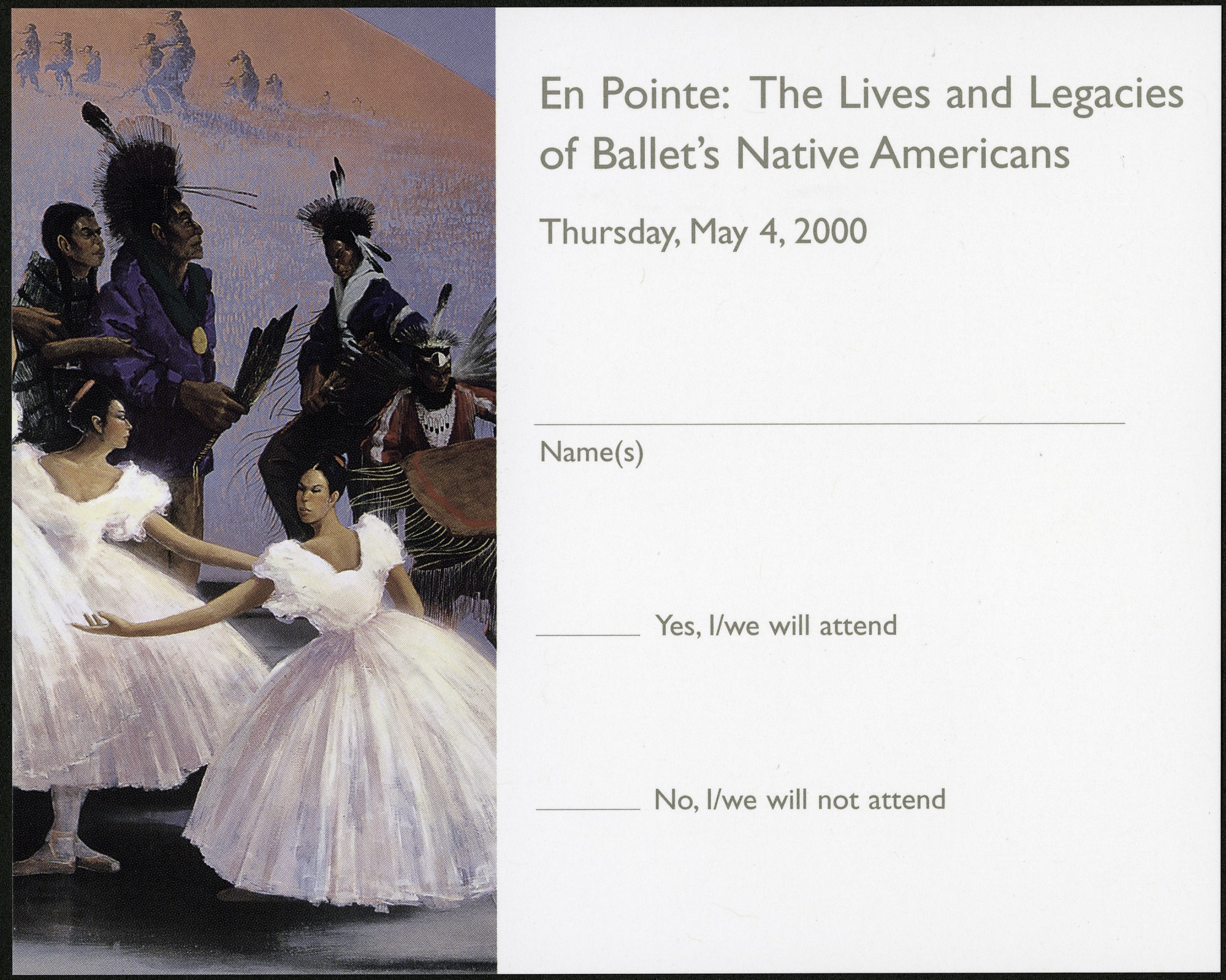 "RSVP Postcard for ""En Pointe"" Exhibit"