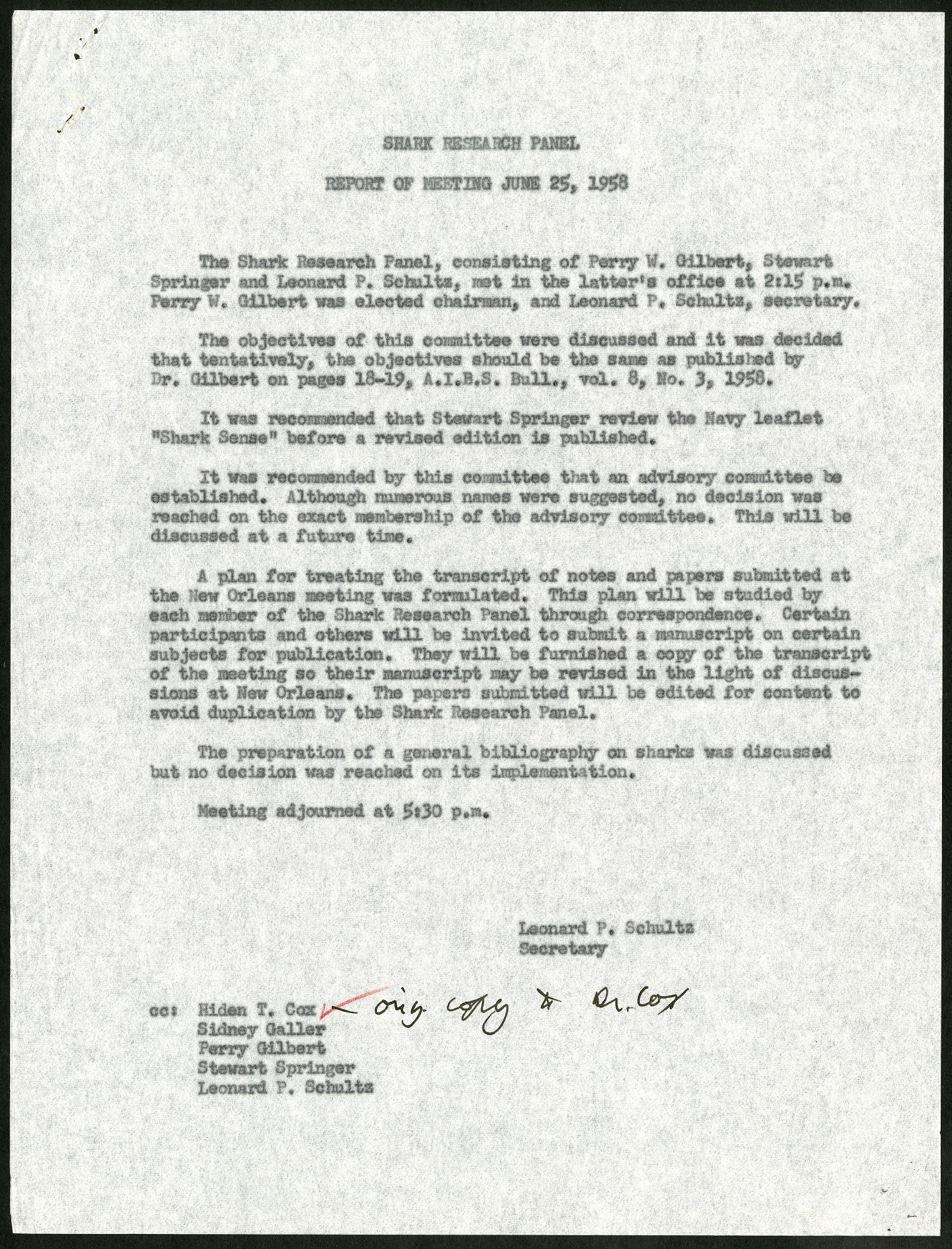 Shark Research Panel Report of Meeting, June 25, 1958