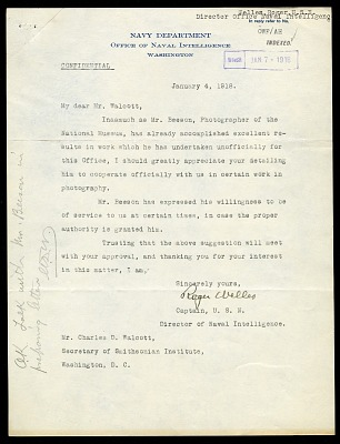 Letter from Captain Roger Welles to Charles D. Walcott, January 4, 1918