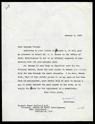 Letter from Charles D. Walcott to Captain Roger Welles to January 8, 1918
