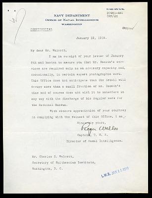 Letter from Captain Roger Welles to Charles D. Walcott, January 12, 1918