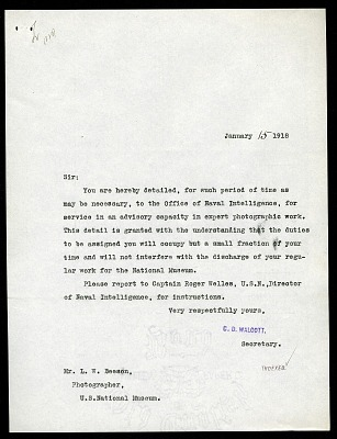 Letter from Charles D. Walcott to Loring W. Beeson