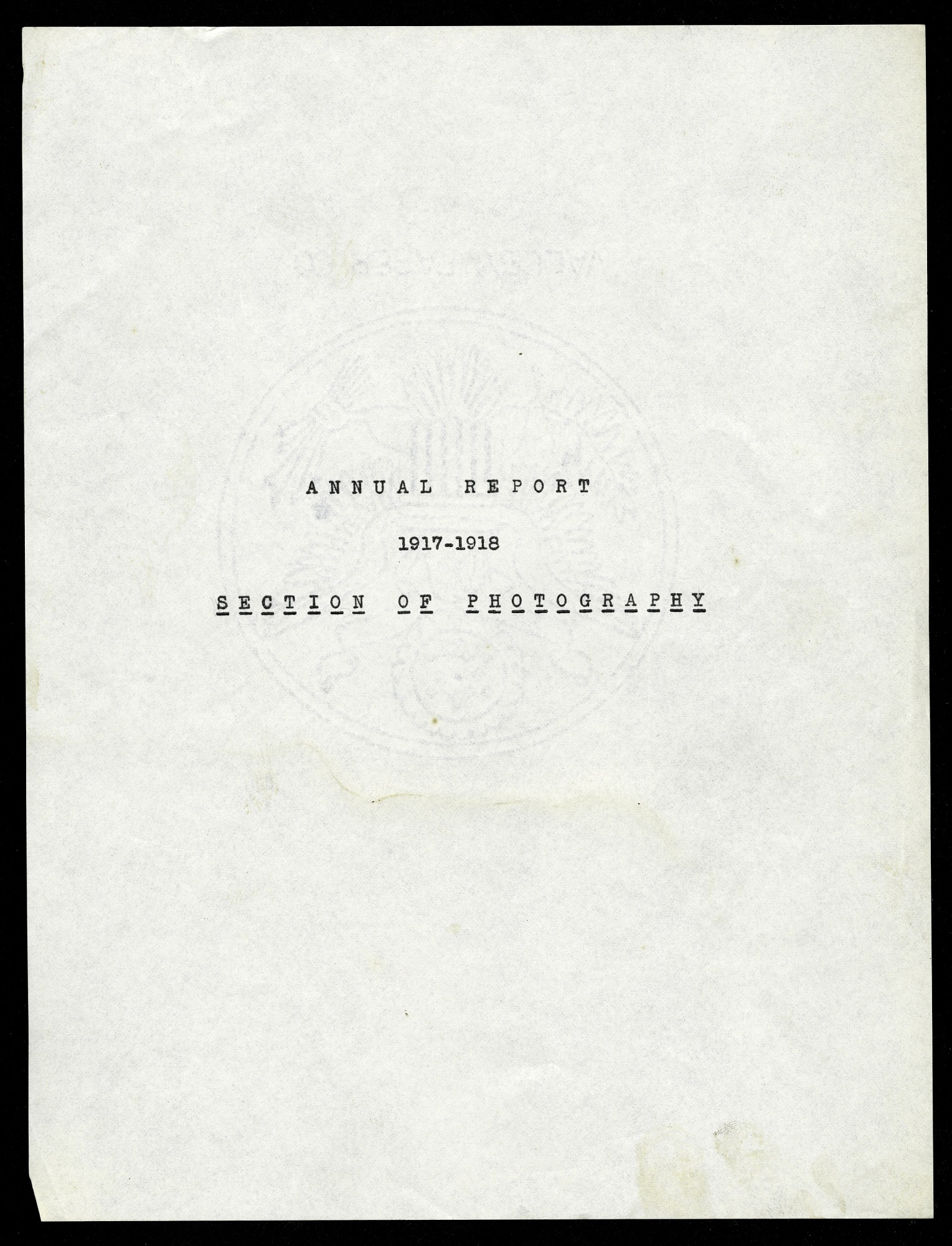 1918 Annual Report, Section of Photography