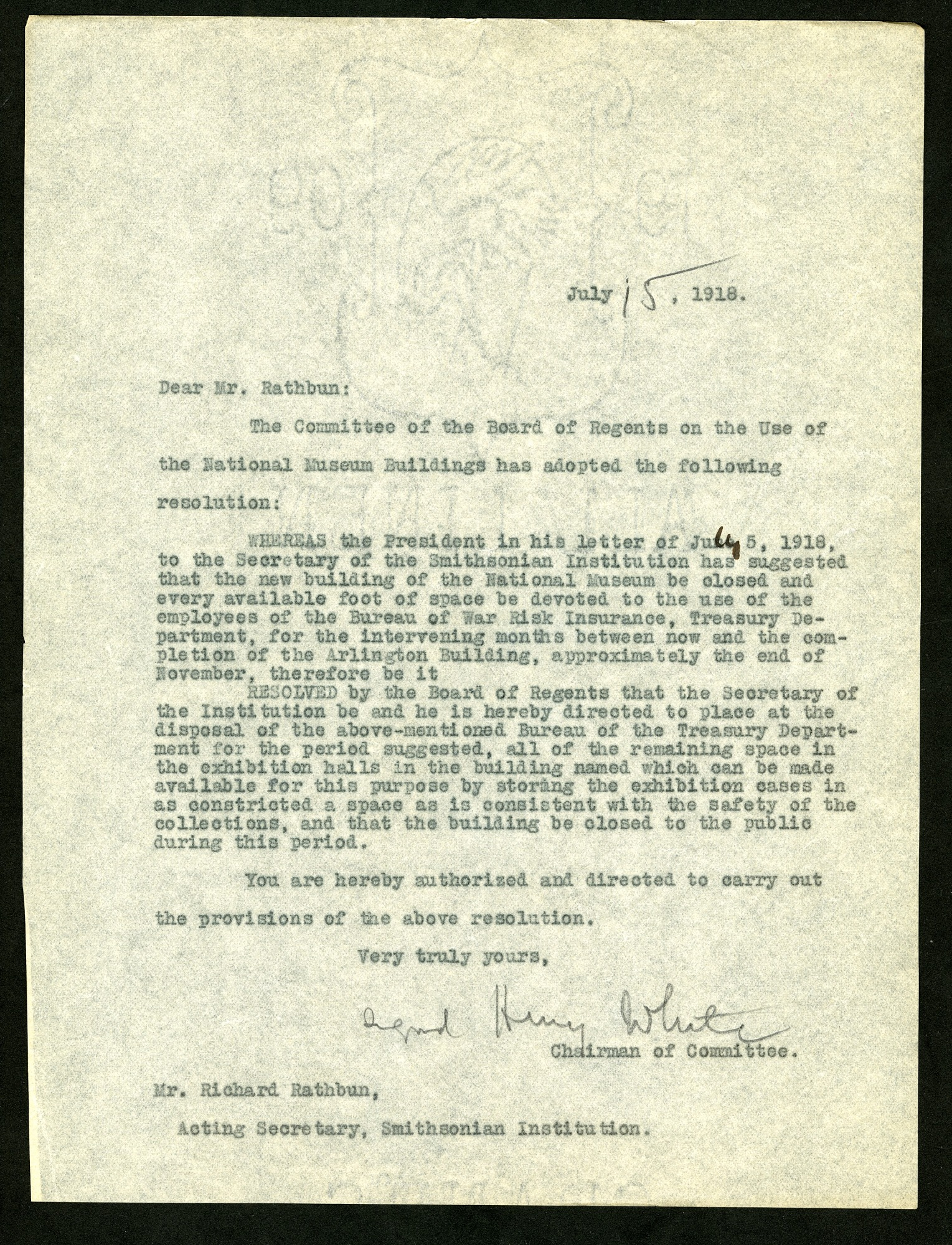 Letter from Henry White to Richard Rathbun