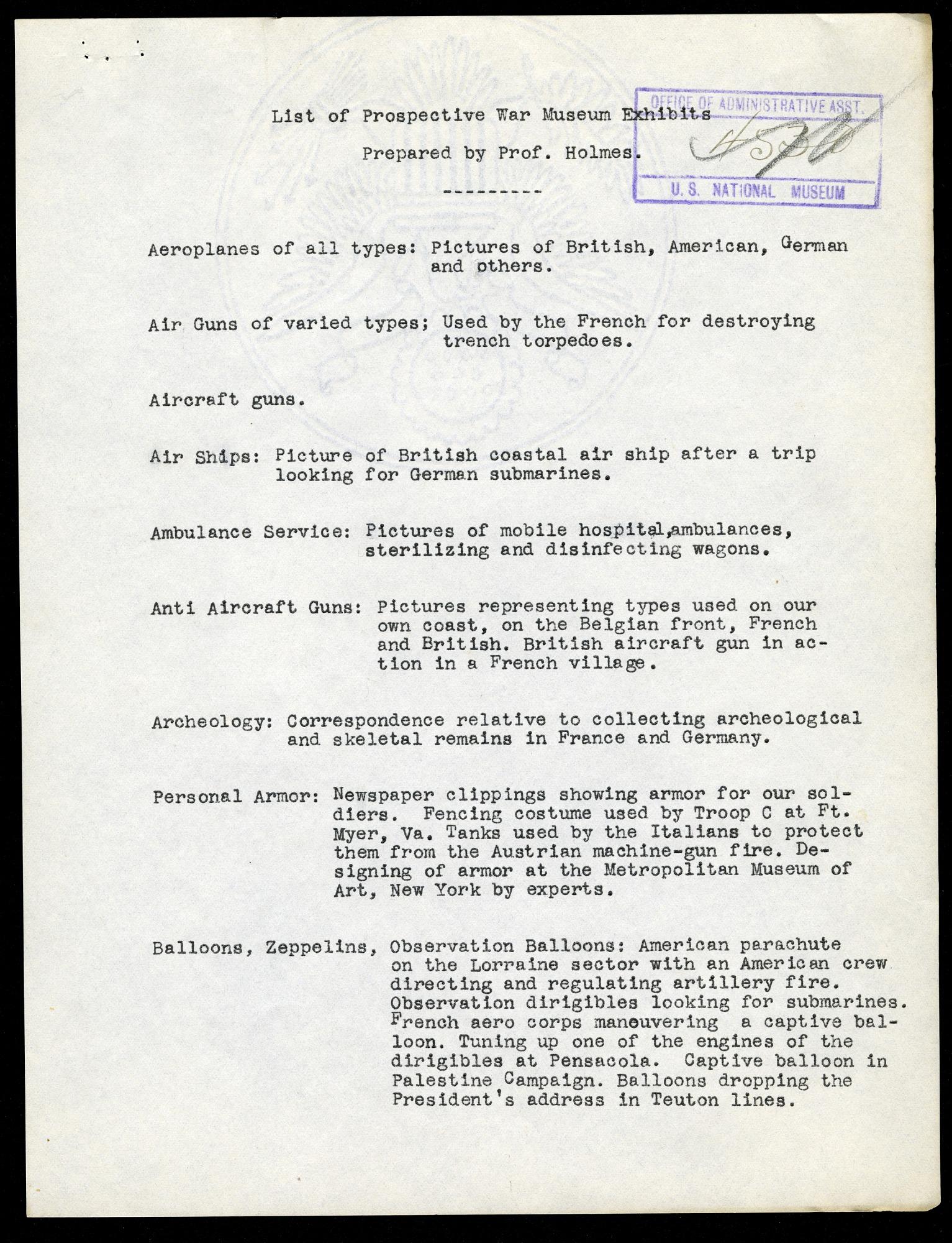List of Prospective War Museum Exhibits