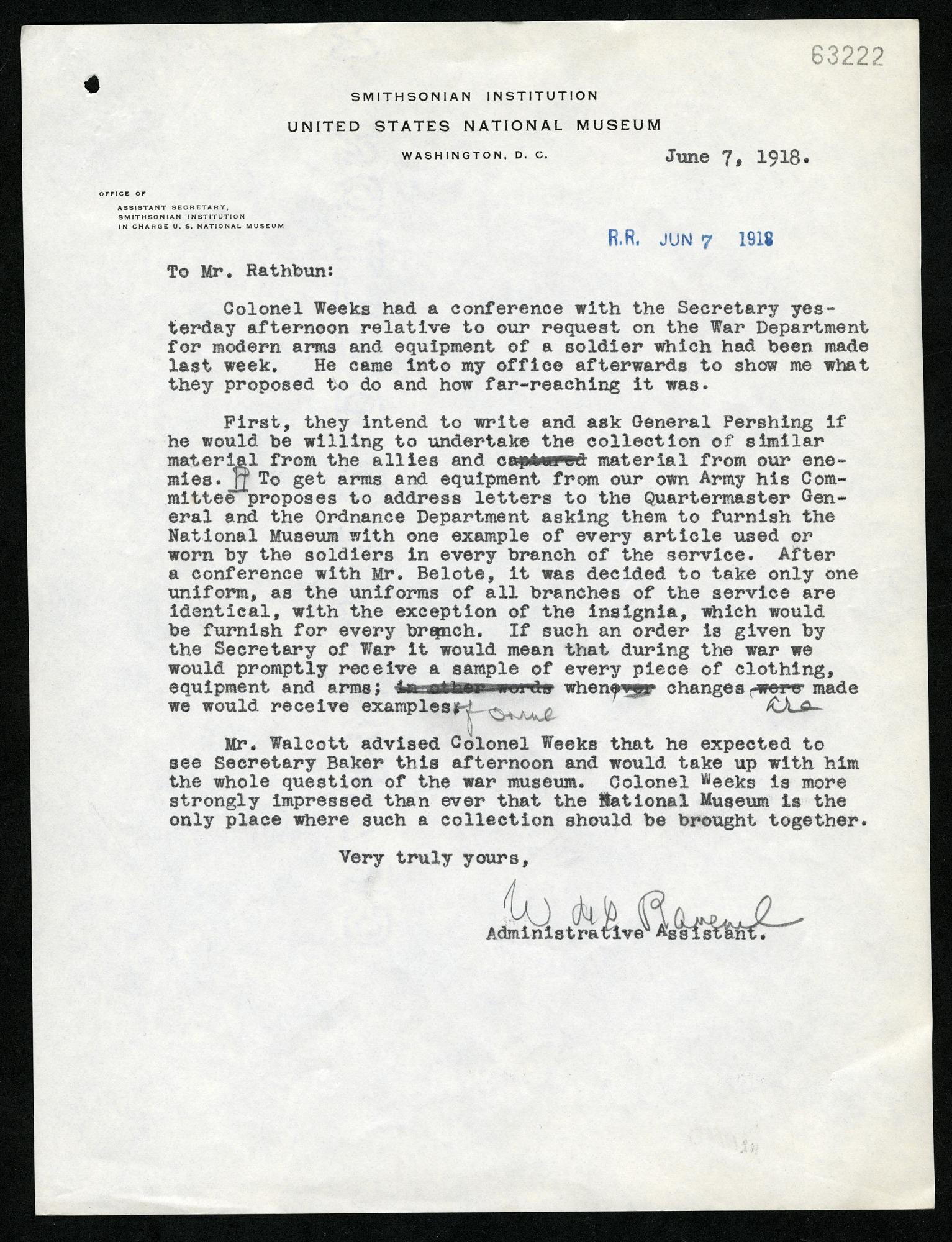 Letter from William deC. Ravenel to Richard Rathbun